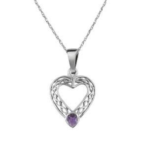 Celtic Silver Heart Pendant with Amethyst colour stone 9146